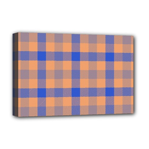 Fabric Colour Orange Blue Deluxe Canvas 18  X 12   by Jojostore