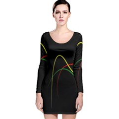 Line Red Yellow Green Long Sleeve Velvet Bodycon Dress