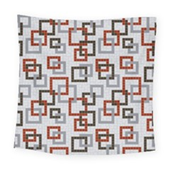 Links Rust Plaid Grey Red Square Tapestry (large) by Jojostore