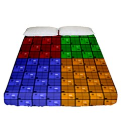 Number Plaid Colour Alphabet Red Green Purple Orange Fitted Sheet (queen Size) by Jojostore