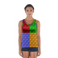 Number Plaid Colour Alphabet Red Green Purple Orange Women s Sport Tank Top  by Jojostore