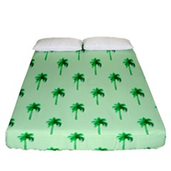 Palm Tree Coconoute Green Sea Fitted Sheet (queen Size) by Jojostore