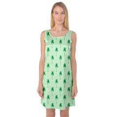 Palm Tree Coconoute Green Sea Sleeveless Satin Nightdress by Jojostore