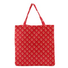 Paw Print Background Wallpaper Cute Paw Print Background Footprint Red Animals Grocery Tote Bag by Jojostore