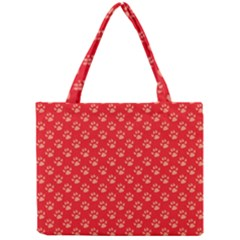 Paw Print Background Wallpaper Cute Paw Print Background Footprint Red Animals Mini Tote Bag by Jojostore