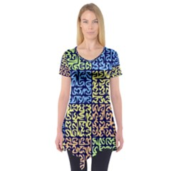 Puzzle Color Short Sleeve Tunic