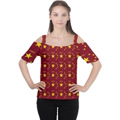 Chinese New Year Pattern Women s Cutout Shoulder Tee