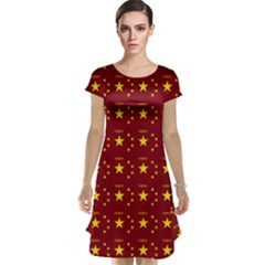 Chinese New Year Pattern Cap Sleeve Nightdress