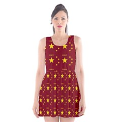 Chinese New Year Pattern Scoop Neck Skater Dress