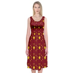 Chinese New Year Pattern Midi Sleeveless Dress