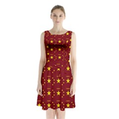 Chinese New Year Pattern Sleeveless Chiffon Waist Tie Dress