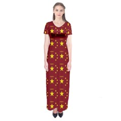Chinese New Year Pattern Short Sleeve Maxi Dress