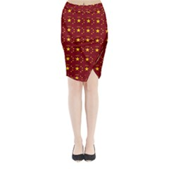 Chinese New Year Pattern Midi Wrap Pencil Skirt