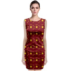 Chinese New Year Pattern Sleeveless Velvet Midi Dress