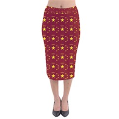 Chinese New Year Pattern Velvet Midi Pencil Skirt