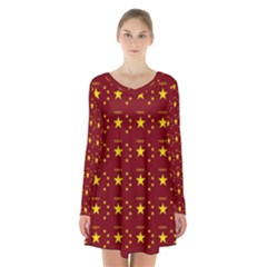 Chinese New Year Pattern Long Sleeve Velvet V-neck Dress