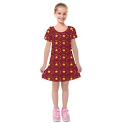 Chinese New Year Pattern Kids  Short Sleeve Velvet Dress