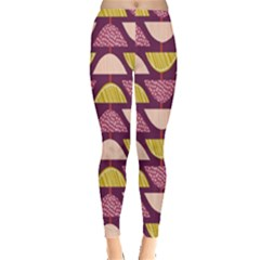 Retro Fruit Slice Lime Wave Chevron Yellow Purple Leggings
