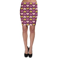 Retro Fruit Slice Lime Wave Chevron Yellow Purple Bodycon Skirt