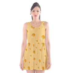Seamless Cheese Pattern Scoop Neck Skater Dress