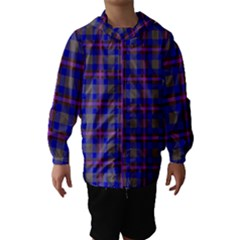 Tartan Fabric Colour Blue Hooded Wind Breaker (kids) by Jojostore