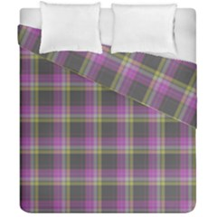 Tartan Fabric Colour Purple Duvet Cover Double Side (california King Size) by Jojostore