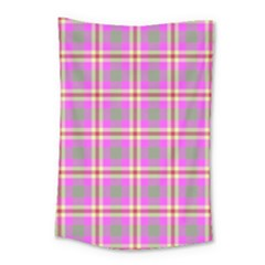Tartan Fabric Colour Pink Small Tapestry by Jojostore