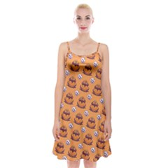 Helloween Moon Mad King Thorn Pattern Spaghetti Strap Velvet Dress