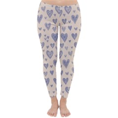 Heart Love Valentine Pink Blue Classic Winter Leggings