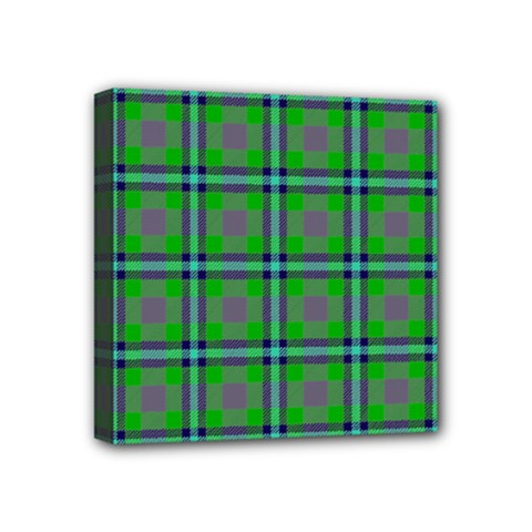 Tartan Fabric Colour Green Mini Canvas 4  X 4  by Jojostore