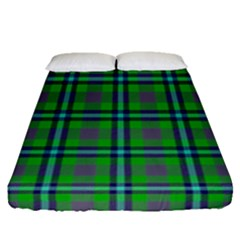 Tartan Fabric Colour Green Fitted Sheet (queen Size) by Jojostore