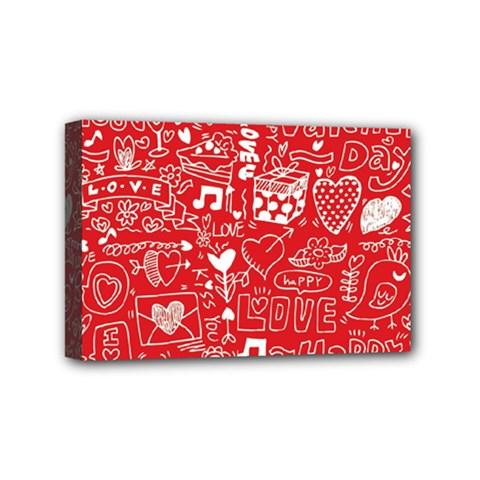 Happy Valentines Love Heart Red Mini Canvas 6  X 4  by Jojostore