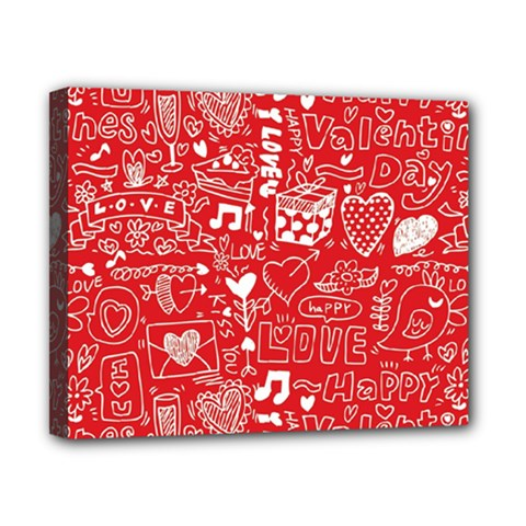Happy Valentines Love Heart Red Canvas 10  X 8  by Jojostore
