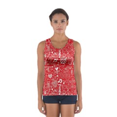 Happy Valentines Love Heart Red Women s Sport Tank Top