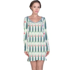 Geometric Blue Circle Blue Long Sleeve Nightdress by Jojostore