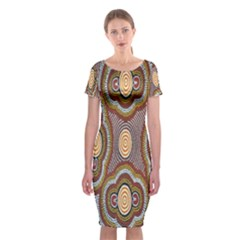 Aborigianal Austrialian Contemporary Aboriginal Flower Classic Short Sleeve Midi Dress by Jojostore