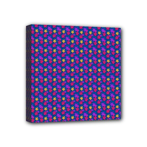 Beach Blue High Quality Seamless Pattern Purple Red Yrllow Flower Floral Mini Canvas 4  X 4  by Jojostore