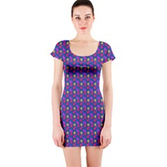 Beach Blue High Quality Seamless Pattern Purple Red Yrllow Flower Floral Short Sleeve Bodycon Dress by Jojostore