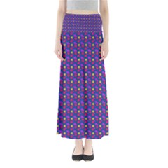 Beach Blue High Quality Seamless Pattern Purple Red Yrllow Flower Floral Maxi Skirts