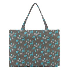 Animals Deer Owl Bird Bear Bird Blue Grey Medium Tote Bag by Jojostore