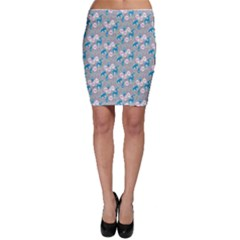 Animals Deer Owl Bird Bear Grey Blue Bodycon Skirt
