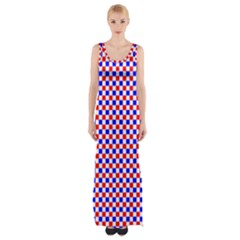 Blue Red Checkered Plaid Maxi Thigh Split Dress by Jojostore