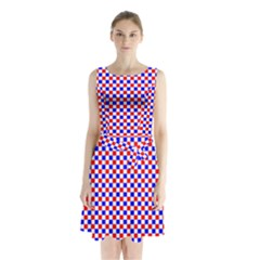 Blue Red Checkered Plaid Sleeveless Chiffon Waist Tie Dress