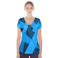 Blue Flag Short Sleeve Front Detail Top