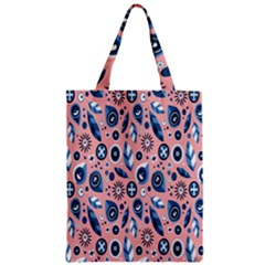 Bird Feathers Circle Sun Flower Floral Purple Pink Zipper Classic Tote Bag by Jojostore