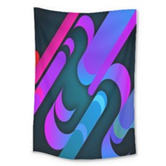 Chevron Wave Rainbow Purple Blue Pink Large Tapestry