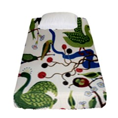Bird Green Swan Fitted Sheet (single Size) by Jojostore