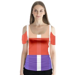 Compound Grid Flag Purple Red Brown Butterfly Sleeve Cutout Tee