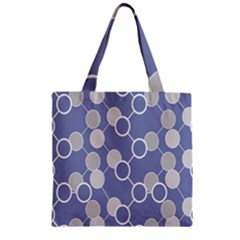 Circle Blue Line Grey Zipper Grocery Tote Bag