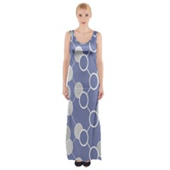 Circle Blue Line Grey Maxi Thigh Split Dress by Jojostore